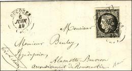 Grille + Càd T 15 OUCQUES (27) / N° 3 Noir Intense Sur Blanc Belles Marges Sur Lettre Avec Texte Pour La Motte Beuvron.  - 1849-1850 Ceres