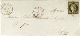 Grille / N° 3 Càd T 15 PRADELLES (41) Sur Lettre Adressée Au Ministre De La Justice à Paris, Au Recto Càd Rouge 1 PARIS  - 1849-1850 Ceres