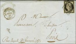 Grille / N° 3 Càd T 15 LA GUILLOTIERE (68) 1 FEVR. 49 Sur Lettre Avec Texte Et Bel En-tête Illustré. Rare Bureau De 6e C - 1849-1850 Ceres