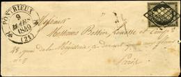 Grille / N° 3 Càd T 12 PONTRIEUX (21) Sur Lettre Pour Paris. 1849. - TB / SUP. - R. - 1849-1850 Ceres