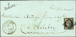 Grille / N° 3 Noir Intense Sur Blanc Càd T 14 LAVELANET (8) Cursive 8 / Belesta Sur Lettre Avec Papier Bleuté Pour Chala - 1849-1850 Ceres