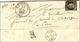 Grille / N° 3 Càd T 13 MARMANDE (45) Cursive 45 / Bouglon Sur Lettre Avec Texte Adressée à Paris. Au Verso, Càd Rouge De - 1849-1850 Ceres