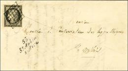 Grille / N° 3 Cursive 53 / St Aubin / S-Aire Sur Lettre Pour St Mihiel. Au Verso, Càd D'arrivée. 1850. Très Rare Bureau  - 1849-1850 Ceres