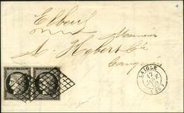 Grille / N° 3 Noir Intense Sur Blanc Paire Belles Marges Càd T 15 LAIGLE (59) Sur Lettre 2 Ports Pour Elbeuf. 1850. - SU - 1849-1850 Ceres