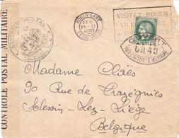 Lettre Simple Rouen 25 2 1940 Pr La Belgique Censure CA Caen Cachet Déesse Assise Cachet CA 45 SUR LE TIMBRE - WW II