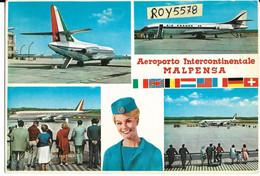 Aeroporto Intercontinentale Malpensa Milano Lombardia Vedute Vedutine Aereo Aerei Pista Passeggeri Animate Fine Anni 60 - Aerodromes