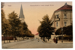 Cpa, Tilsit. M.03226. Clausius-Strabe M. Neuer Evangel. Kirche  - RUSSIE  /n 213 - Russia