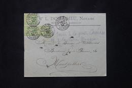 FRANCE - Enveloppe De Notaire à Bédarieux En 1900 Pour Un Baron à Montpellier, Affranchissement Sages 5ct X3 - L 78086 - 1877-1920: Semi Modern Period