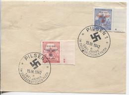 Böhmen Und Mähren # 83-4 Ersttag Briefstück Sonderstempel #88a Pilsen 15.3.42 - FDC