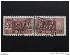 """ITALIA Repubblica -1947-54-""""Pacchi Postali"""" £. 20 Varietà Di Filigrana US° (descrizione) - Postal Parcels"""