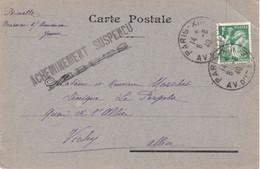 1F Iris CP Non Illustrée écrite De Brienon Yonne Le 4 Août Postée à Paris Le 6 8 1940 Pour Vichy Acheminement Suspendu - WW II