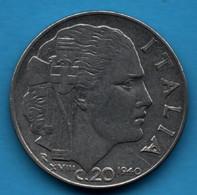 ITALIA 20 Centesimi 1940 KM# 75b Vittorio Emanuele III Magnetic - 1900-1946 : Victor Emmanuel III & Umberto II