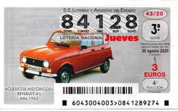 SPAIN LOTTERY TICKET VINTAGE AUTOMOVIL RENAULT 4 L . CAR VOITURE COCHE - Loterijbiljetten