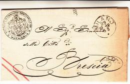 Milano Per Brescia, Letterain Franchigia Con Contenuto 1882 - Marcophilia