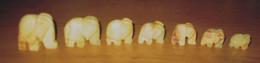 Déco Eléphants X 7 En Albâtre Le + Grand 5 X 4.5 X 2.5 Cm Le + Petit 2.5 X 2 X 1.5 Cm - Tiere