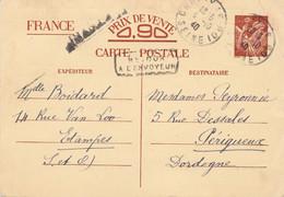Griffe INADMIS Sur Entier CP Interzones Choisy Le Roi 6 10 1940 (dépassement De La Dernière Ligne De Texte) - 2. Weltkrieg 1939-1945