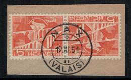 Suisse // Schweiz // Non Classée // Valais // Timbre Avec Oblitération Valaisanne Sur Fragment (Nax) - Ohne Zuordnung