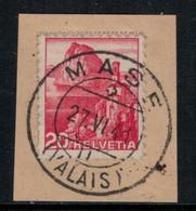 Suisse // Schweiz // Non Classée // Valais // Timbre Avec Oblitération Valaisanne Sur Fragment (Mase) - Ohne Zuordnung