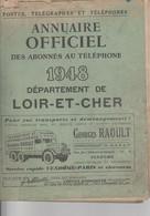 ANNUAIRE TELEPHONIQUE--DU LOIR ET CHER--1948-VOIR SCANNER - Telefoonboeken
