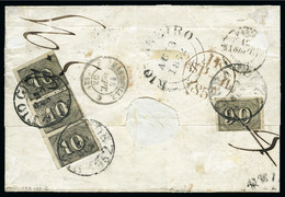 1850, 10r Vertical Strip Of Three And 90r Single, Paying The Internal Maritime Rate On Reverse Of Folded Cover From Rio  - Lettres & Documents