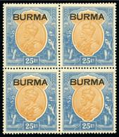 1937 KGV 25R Orange & Blue In Mint Og Block Of Four - Myanmar (Birmanie 1948-...)