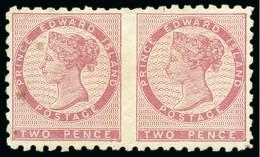 1861 2d Rose IMPERF. BETWEEN Horiz. Pair, Unused - Neufs