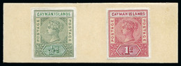 1900 QV 1/2d Green And 1d Carmine Essays Made From Cut-down Keyplates In The Issued Colours With The Country Name And Va - Iles Caïmans
