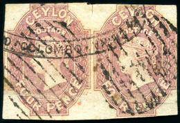 1857-59 4d Dull Rose Used HORIZONTAL PAIR, Ex Ferrari, Harris, Bailey And Agabeg - Sri Lanka (Ceylan) (1948-...)