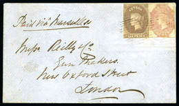 1859 (Dec 29) Envelope From Pusilawe To England With 1857-59 4d Rose And 6d On Blued Paper - Sri Lanka (Ceylan) (1948-...)