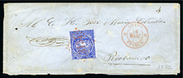 1872 Envelope From Quito To Riobamba With 1865-72 1/2r Deep Blue, Lost With Manuscript Note On Reverse - Equateur