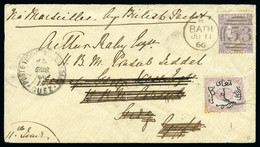 1866 Envelope From England To The British Consul In Jeddah, With GB 1865-67 6d And Egypt 1866 1pi Mixed Franking - 1866-1914 Khédivat D'Égypte