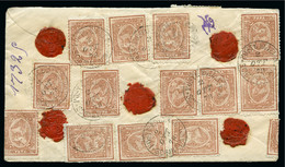 1878 (Oct 2) Envelope From Scibin El Kom Sent Registered To Cairo Franked On Both Sides With SIXTEEN 1874-75 Third Issue - 1866-1914 Khédivat D'Égypte