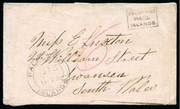 """1873 (Oct 15) Ladies Envelope To Wales, Handstamped Small Frank (Type 1) Boxed """"FALKLAND/PAID./ISLANDS"""" - Falkland"""