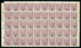 1892-93 5d On 4d Dull Purple Mint Complete Lower Pane Of 50 With Imperf Margin At Foot - Fidji (...-1970)