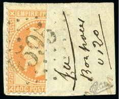 VERY RARE BISECT ON PIECE - 1868 Empire Laureate 40c Orange VERTICAL BISECT Tied To Fragment - 1863-1870 Napoléon III Lauré