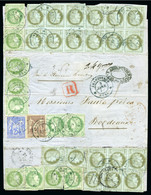 SPECTACULAR MULTIPLE FRANKING FROM FRENCH INDIA - Cérès