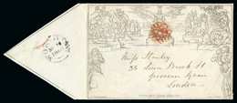 1840 (May 10) Mulready 1d Envelope Sent From Worthing To London And Cancelled By Bold Red Maltese Cross Cancellation On  - 1840 Enveloppes Mulready