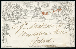 """1840 (Nov 23) 1d Mulready Lettersheet, Forme 3, Stereo A69, Sent From London To Oxford Cancelled Only By A Red """"Vigo-Lan - 1840 Enveloppes Mulready"""