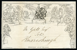 """1843 (Aug 10) 1d Mulready Lettersheet From London To Knaresborough And Neatly Cancelled By A Superb Strike Of A London """" - 1840 Enveloppes Mulready"""