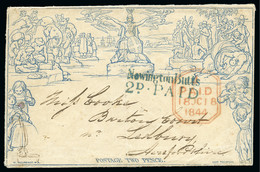 """1840 Mulready 2d Envelope Cancelled Contrary To Regulations By A Perfectly Struck Blue """"Newington Butts / 2d PAID"""" Recei - 1840 Enveloppes Mulready"""
