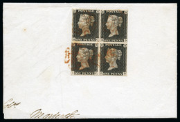 1840 1d Black Pl.3 HC/ID Block Of Four, Close To Very Good Margins, Tied By To A Large Piece By Red Maltese Crosses - Oblitérés