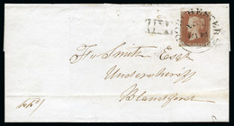 """1842 (Nov 5) Wrapper From Dorchester (Dorset) To Blandford With 1841 1d Red-brown Pl.20 LE Tied By A Dorchester """"Wessex"""" - Lettres & Documents"""
