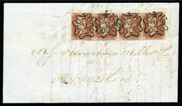"""1843 (Apr 5) Wrapper From London To Preston Bearing Four 1d Red-brown Pl.29 Beautifully Tied By Crisp London """"2"""" In MCs - Lettres & Documents"""
