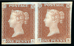 1841 1d Red Plate 1b PA-PB Mint Pair, With Fine To Large Margins, With PA Showing State 3 And PB Showing An Original Re- - Neufs