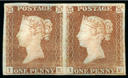 1841 1d Red Plate 2 IE-IF Unused Pair, Unique Multiple - Neufs