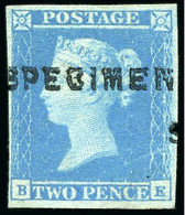 """1841 2d Blue Pl.3 BE With """"SPECIMEN"""" Type 1 Overprint, Reverse With """"AG"""" Of """"POSTAGE TWOPENCE"""" Hs In Blue - Neufs"""