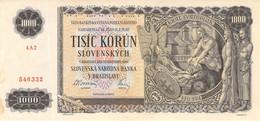 Slowakei 1000 Korun Geldschein, 1940 UNC Spezimen - Slovakia