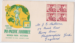Australia Wonga Park Victoria Pan-Pacific Jamboree FDC First Day Cover 1949 Scoutisme Australie Scout - Cartas
