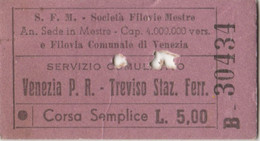 BIGLIETTO FILOVIE MESTRE TIPO EDMONDSON VENEZIA TREVISO (XF821 - Europe
