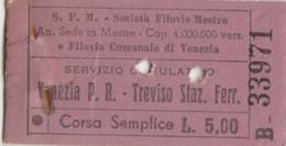 BIGLIETTO FILOVIE MESTRE TIPO EDMONDSON VENEZIA TREVISO (XF902 - Europa